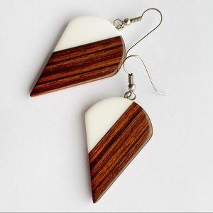 Wooden-like White Triangle Geometric Cone Earrings